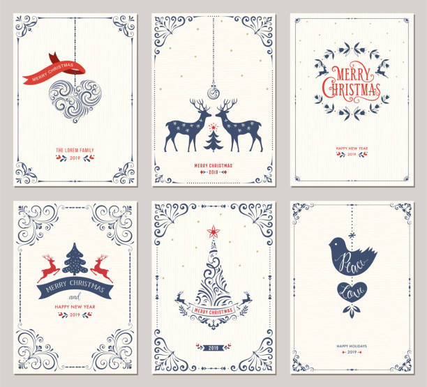 süslü noel tebrik cards_01 - merry christmas stock illustrations
