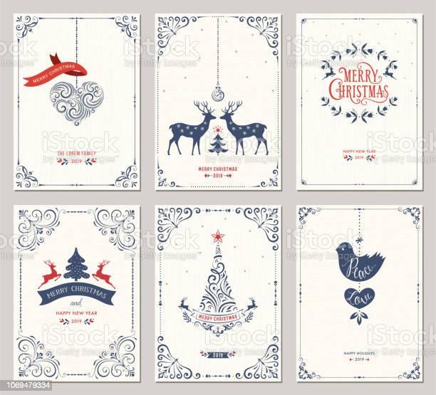 Vetores de Cards01 De Saudação De Natal Ornamentadas e mais imagens de Azul escuro