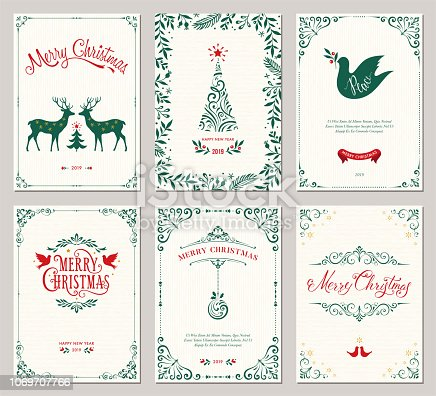 Ornate vertical winter holidays greeting cards with New Year tree, reindeers, Christmas Dove, typographic design, floral and swirl frames. Vector illustration.