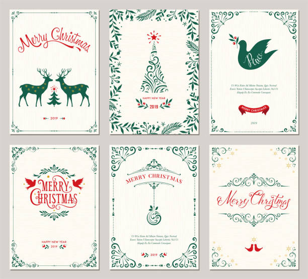 ornate christmas greeting cards_04 - invitations templates stock illustrations