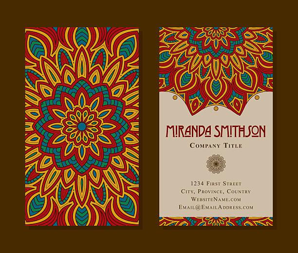 ornate circular mandala multicolored business card designs - アジアのタトゥー点のイラスト素材/クリップアート素材/マンガ素材/アイコン素材