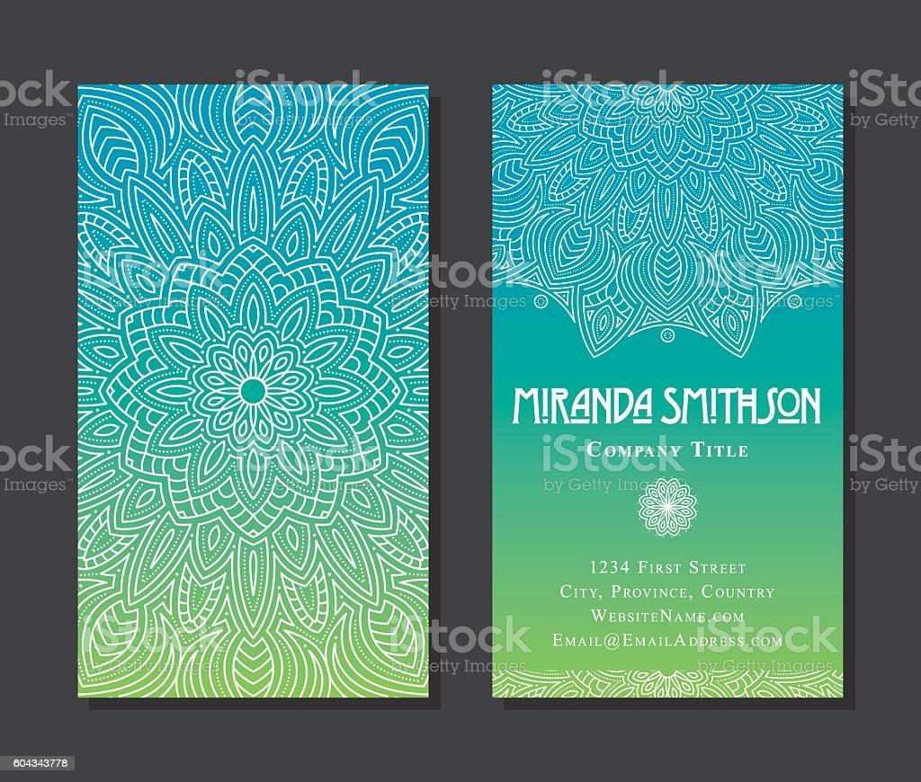Ornate Circular Mandala Multicolored Business Card Designs - ilustração de arte em vetor