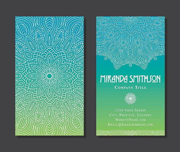 ornate circular mandala multicolored business card designs - 인도 인도아 대륙 stock illustrations