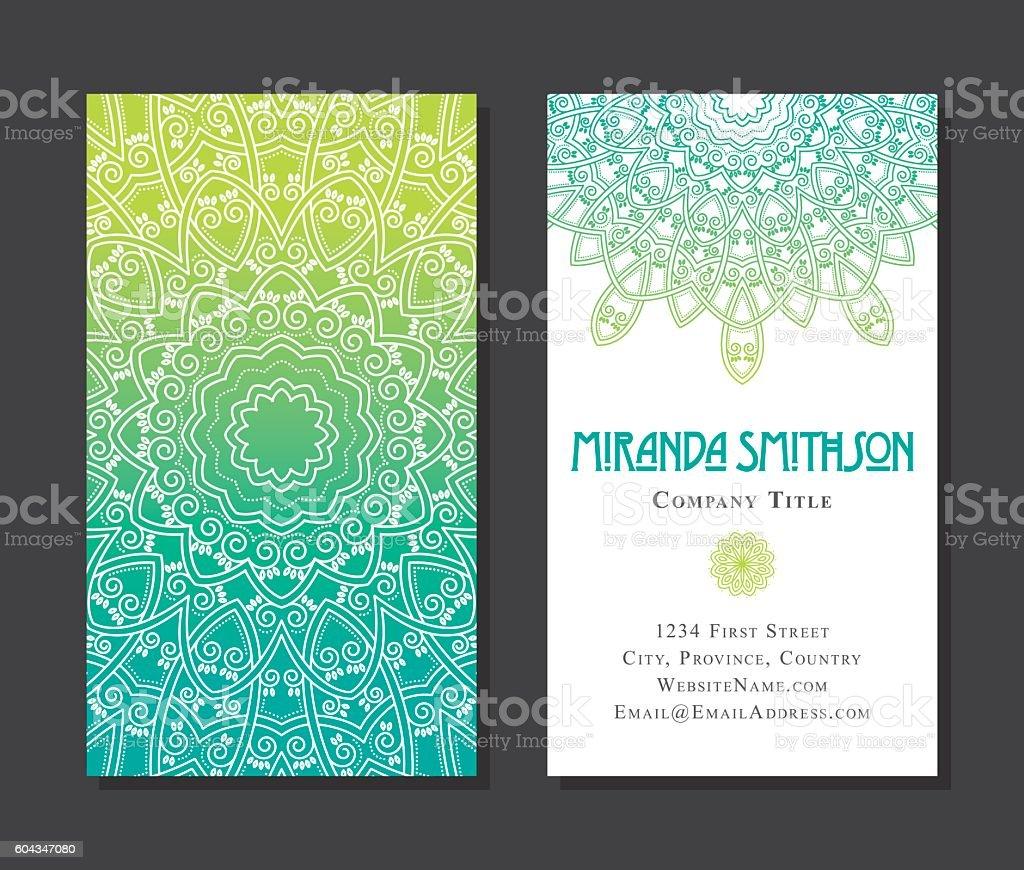 Ornate Circular Mandala Multicolored Business Card Designs Stock ...