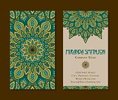 "Mandala designs with lots of ornate detail, designed as a two sided business card template. Business card is standard dimensions of 3.5"" x 2"". Download includes an AI10 EPS (CMYK) as well as a high resolution RGB JPEG."