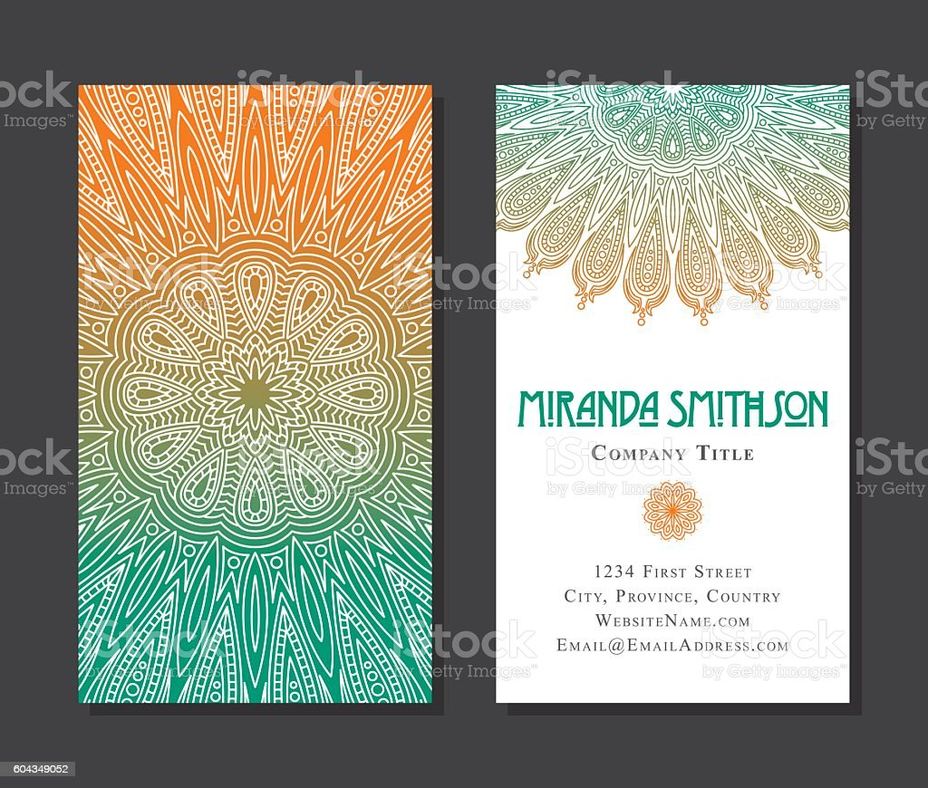 Ornate Circular Mandala Multicolored Business Card Designs - ilustración de arte vectorial