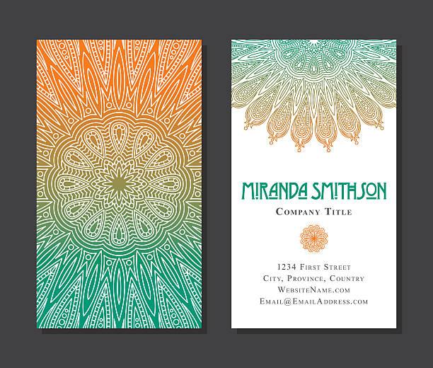 stockillustraties, clipart, cartoons en iconen met ornate circular mandala multicolored business card designs - hennatatoeage