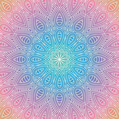 Ornate Circular Mandala Multicolored Designs Stock Illustration - Download Image Now