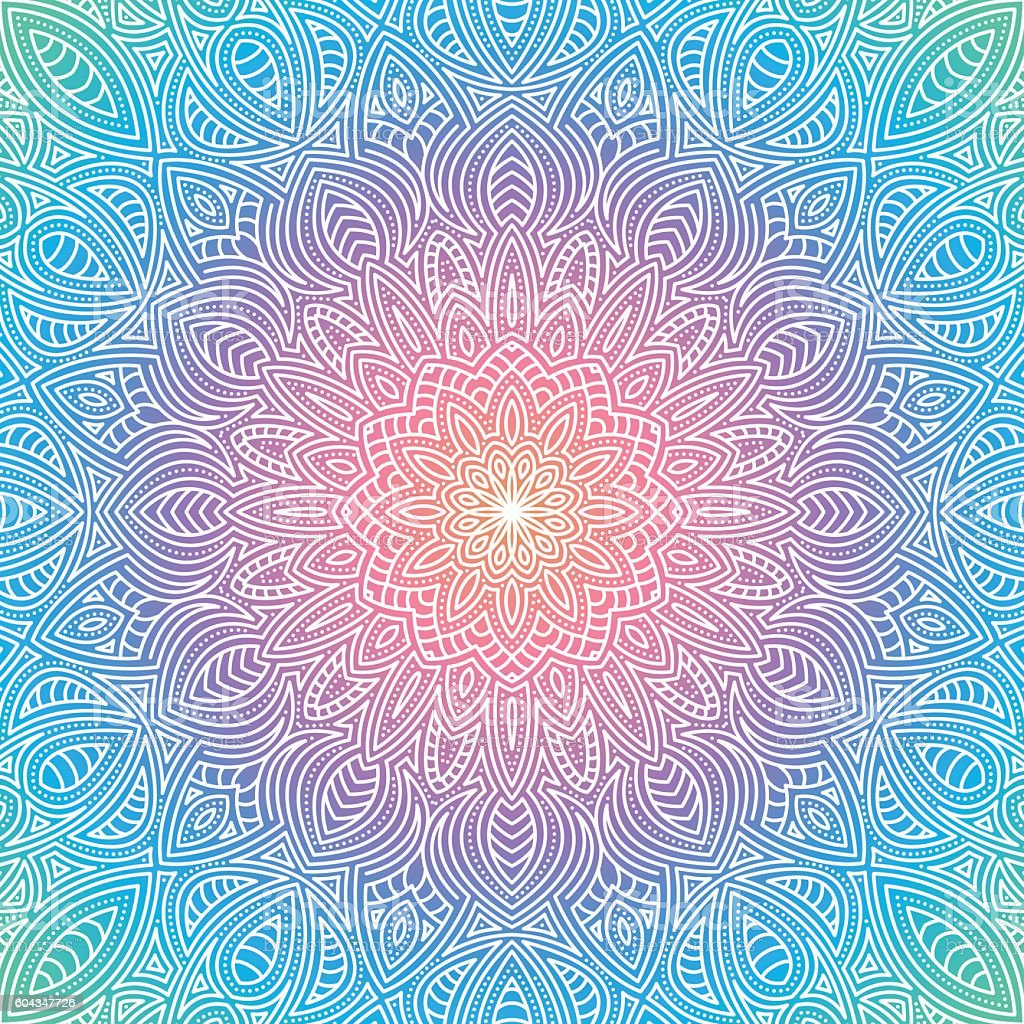 Ornate Circular Mandala Multicolored Designs vector art illustration
