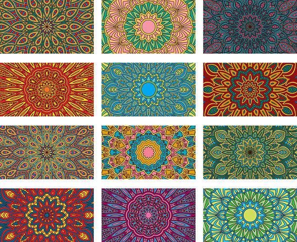 ornate circular mandala multicolored designs - アジアのタトゥー点のイラスト素材/クリップアート素材/マンガ素材/アイコン素材
