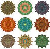 Ornate Circular Mandala Multicolored Designs
