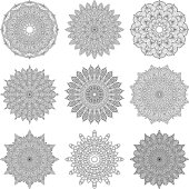 Ornate Circular Mandala Set, Black and White Line Art