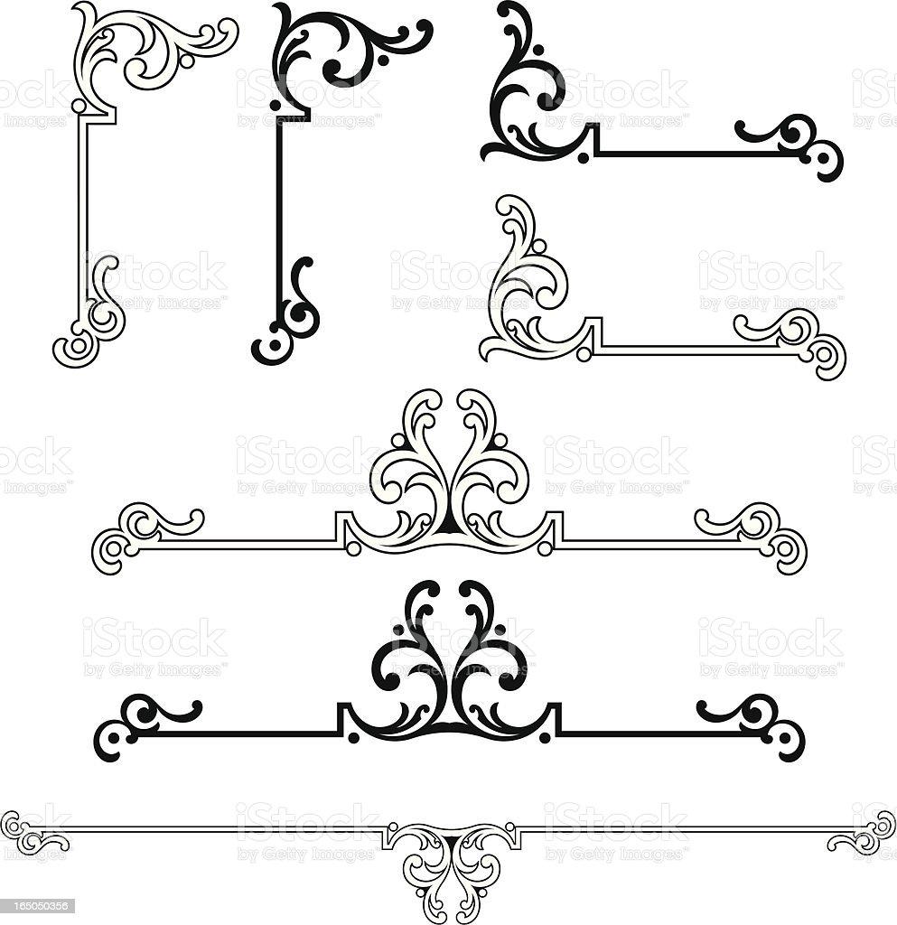 Ornate Corner and centre scrolls vector art illustration