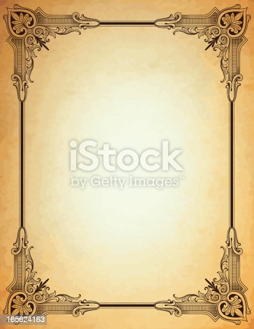ornate corners parchment antique scrollwork frame stock