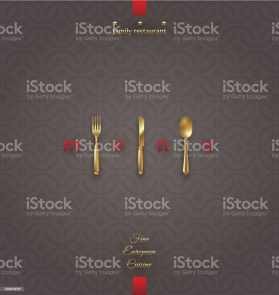 Ornate cover menu with golden cutlery - vector illustration royalty-free stock vector art