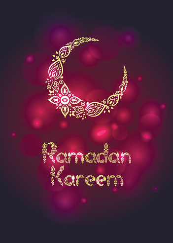 Ornate crescent moon for the ramadan greeting card