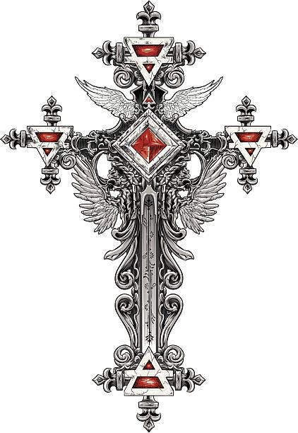 Ornate Cross vector art illustration