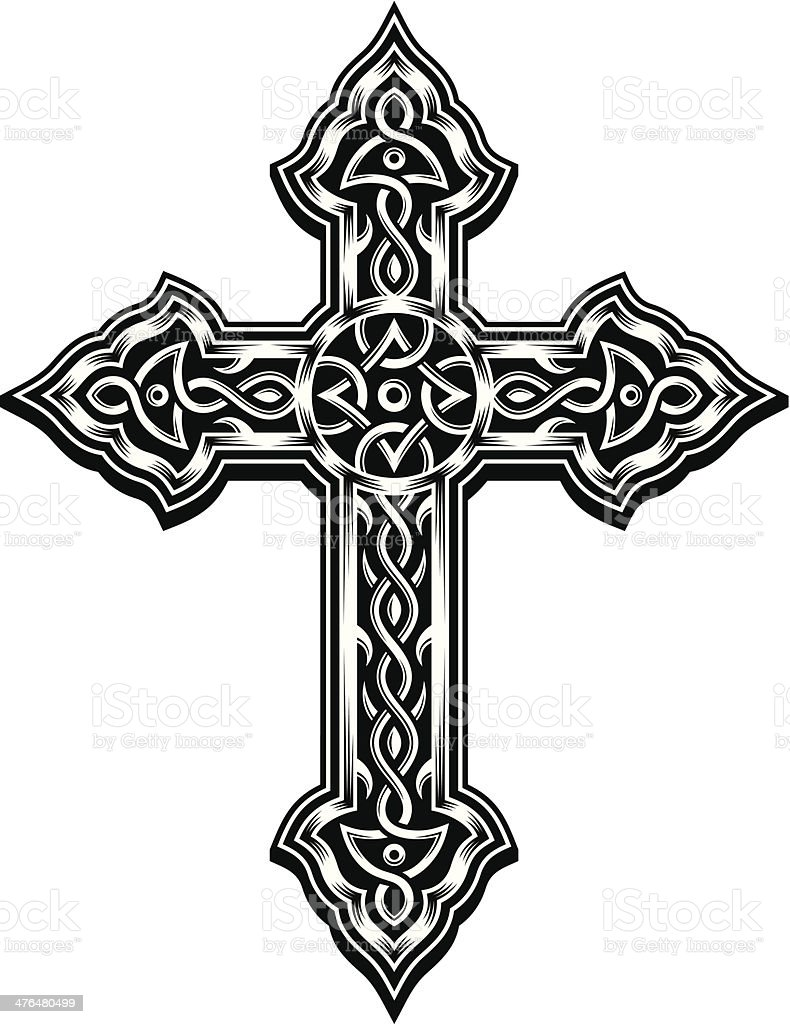Ornate Cross Vector vector art illustration