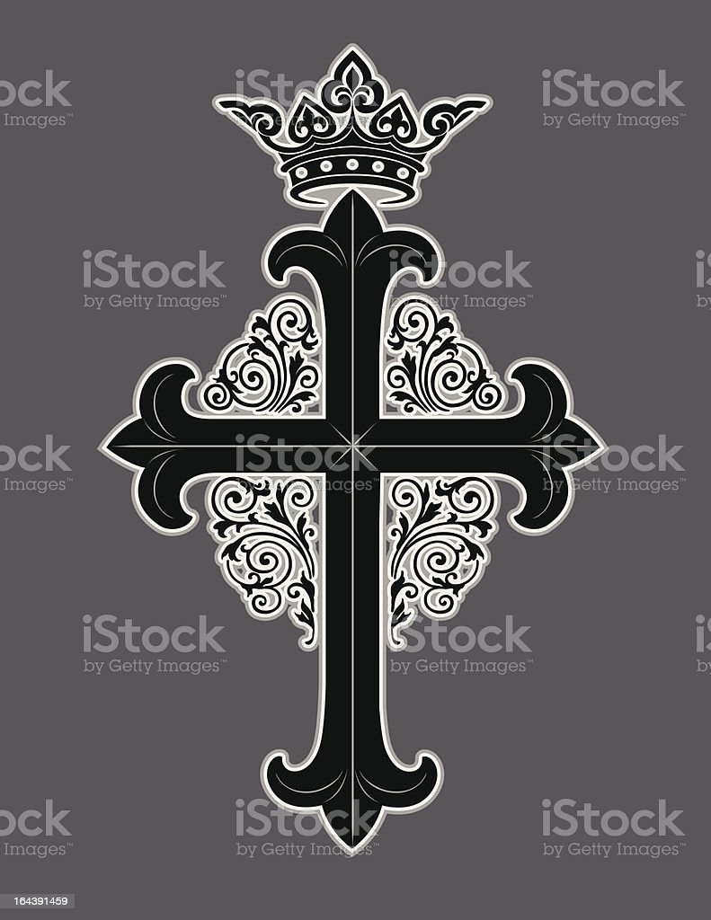 Ornate cross with crown royalty-free ornate cross with crown stock vector art & more images of art and craft
