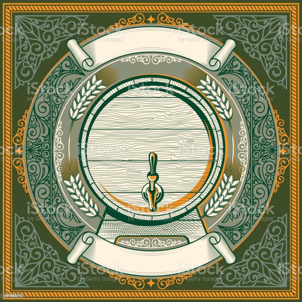 Barril decorativo ornamentado emblema - ilustração de arte em vetor