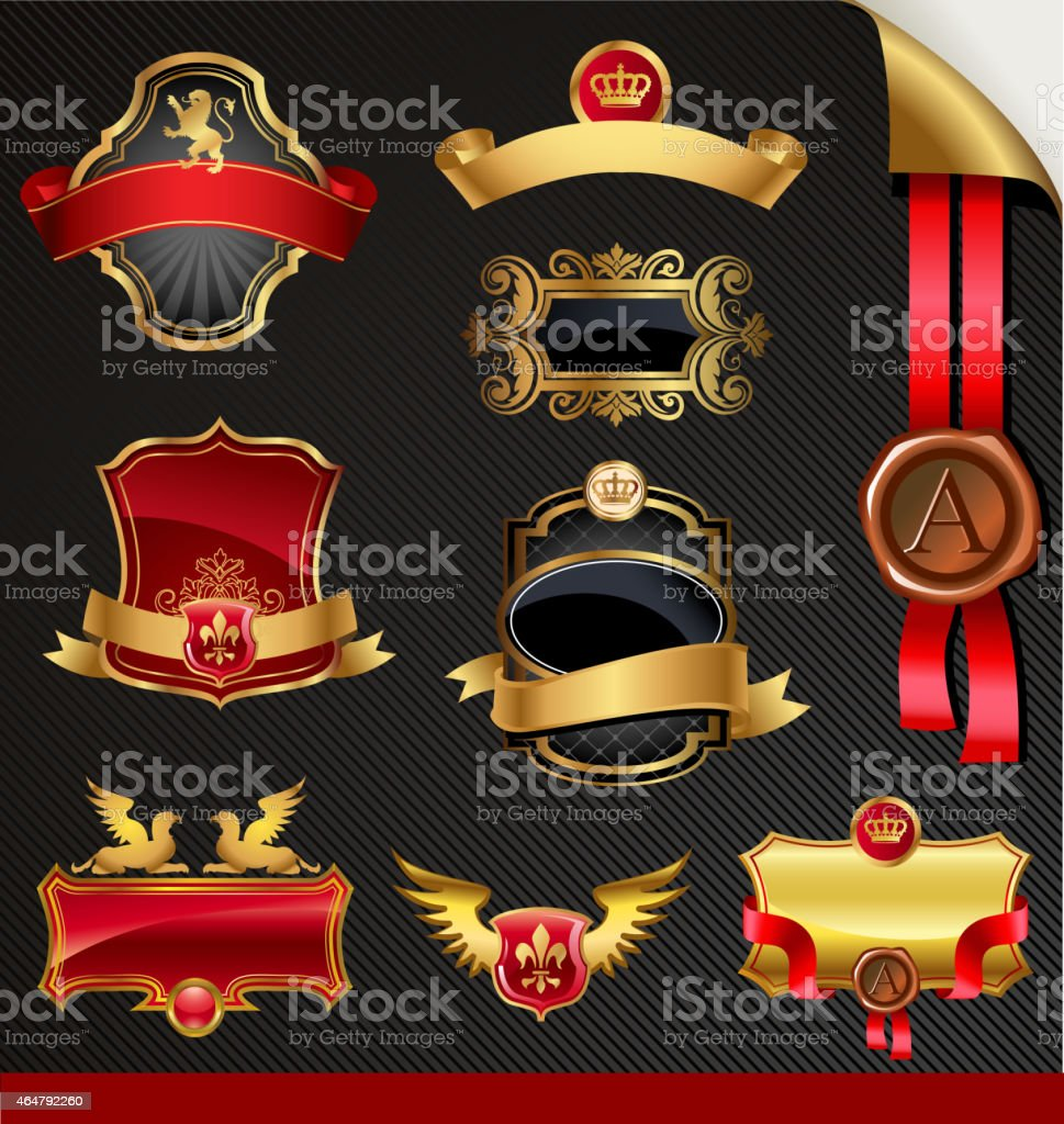 Ornate decorative golden vector frames vector art illustration