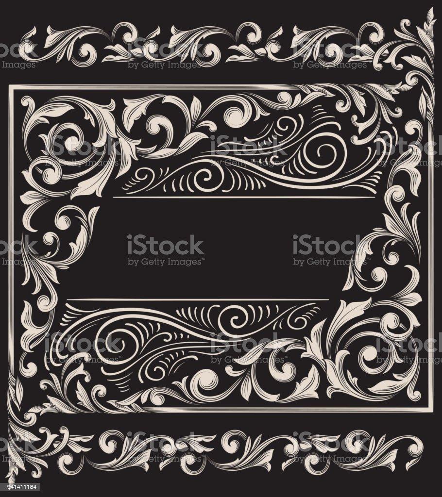 Ornate decorative vintage design vector art illustration