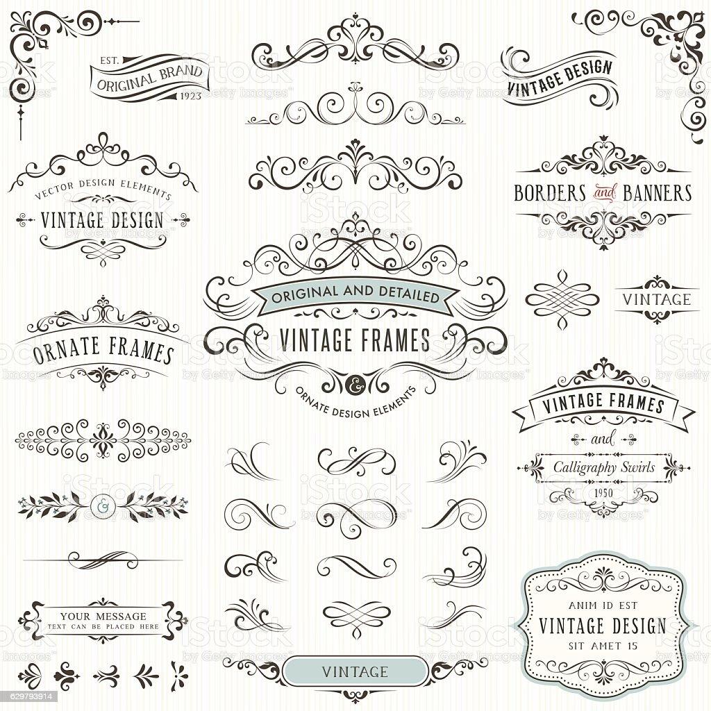 Ornate Design Elements vector art illustration