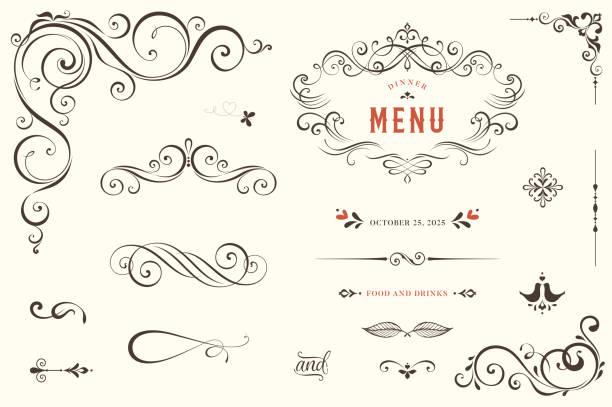 bildbanksillustrationer, clip art samt tecknat material och ikoner med utsmyckad design elements_01 - snirkelmönster