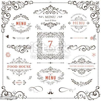 Ornate design elements set. Table numbers, wedding and restaurant menu templates. Vector flourishes, scrolls, frames.