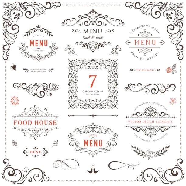 stockillustraties, clipart, cartoons en iconen met sierlijke design elements_02 - gedekte tafel