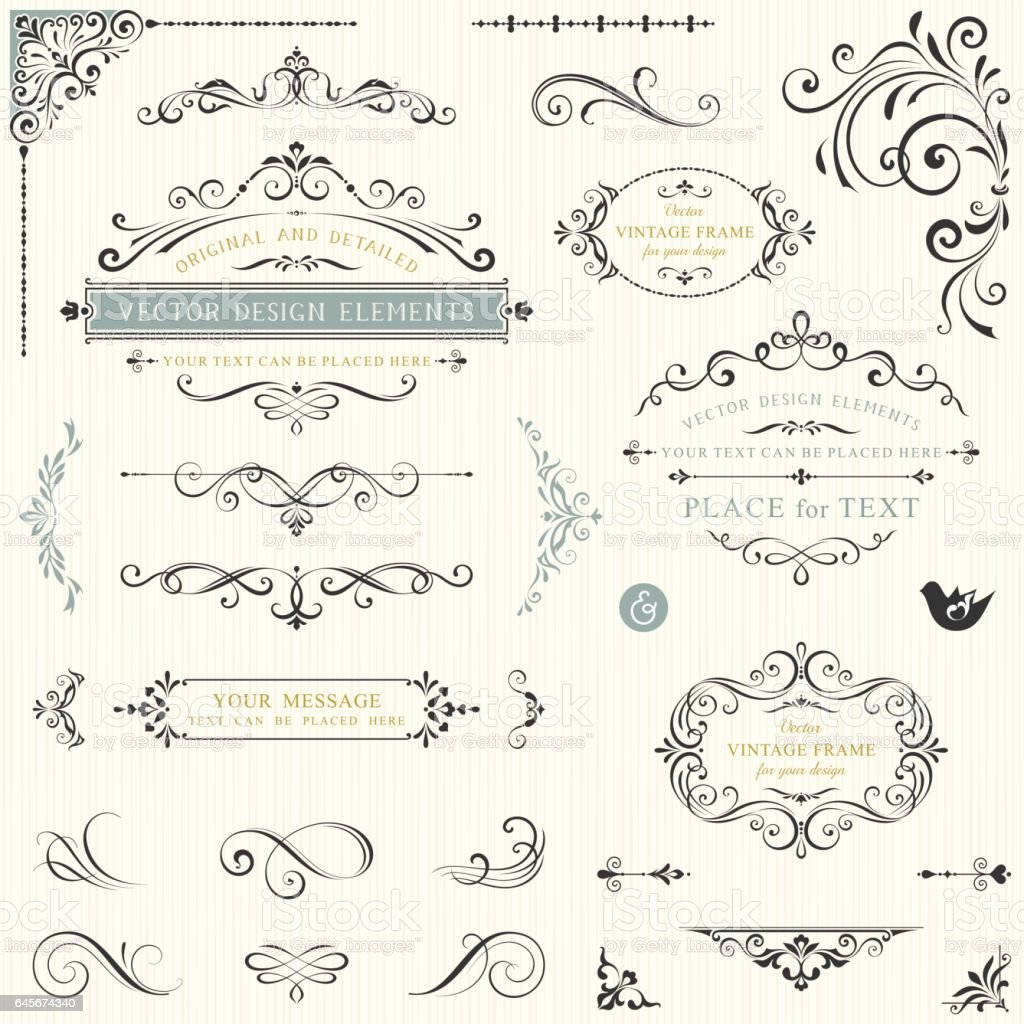 Ornate Design Elements_03 vector art illustration