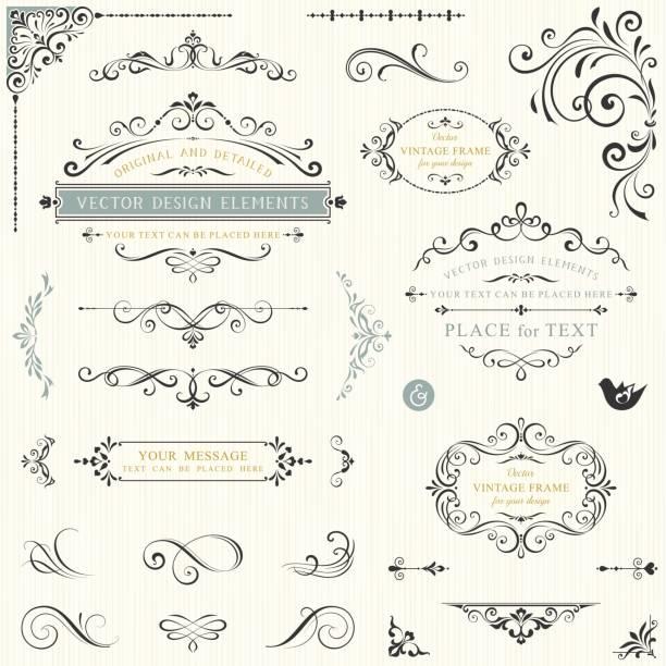ornate design elements_03 - decorative borders stock illustrations, clip art, cartoons, & icons