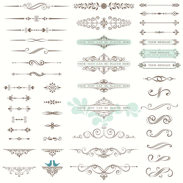 ornate design set - dekoratif stock illustrations, clip art, cartoons, & icons