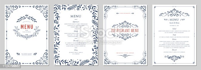 Ornate classic templates set in vintage style. Wedding and restaurant menu. Vector illustration.