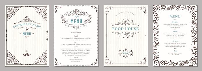 Wedding and restaurant menu.