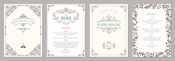 Ornate Design Templates_02 Wedding and restaurant menu. french culture stock illustrations