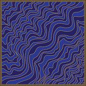 Ornate diagonal wave shawl print with gold chains, indigo blue stripes, Greek meander border pattern, Baroque fantasy silk bandana, scarf, kerchief, textile patch, carpet, pillow