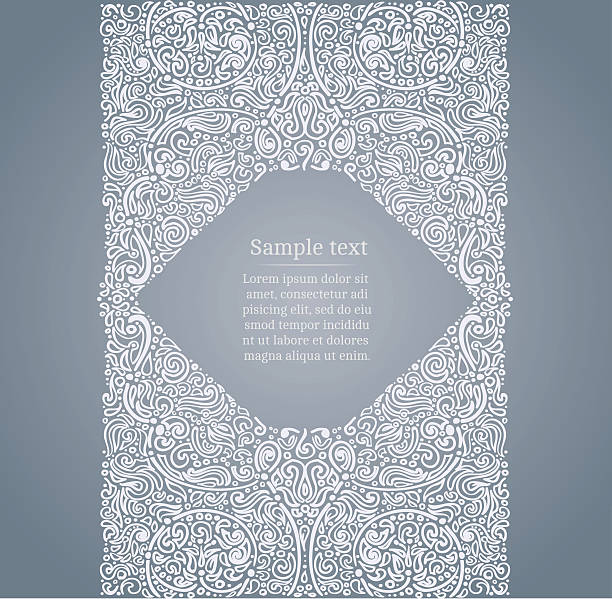 Ornate drawn frame vector art illustration