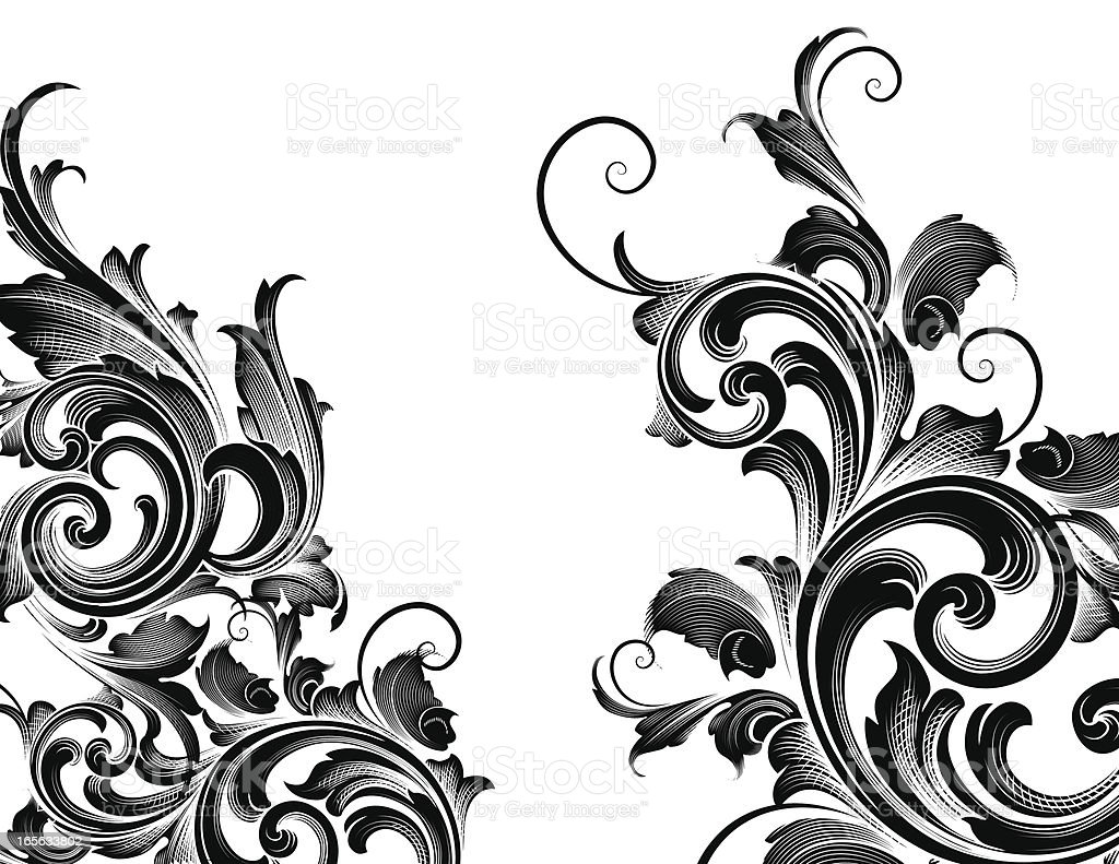 Ornate Edge Elements hand engraved scrollwork royalty-free stock vector art