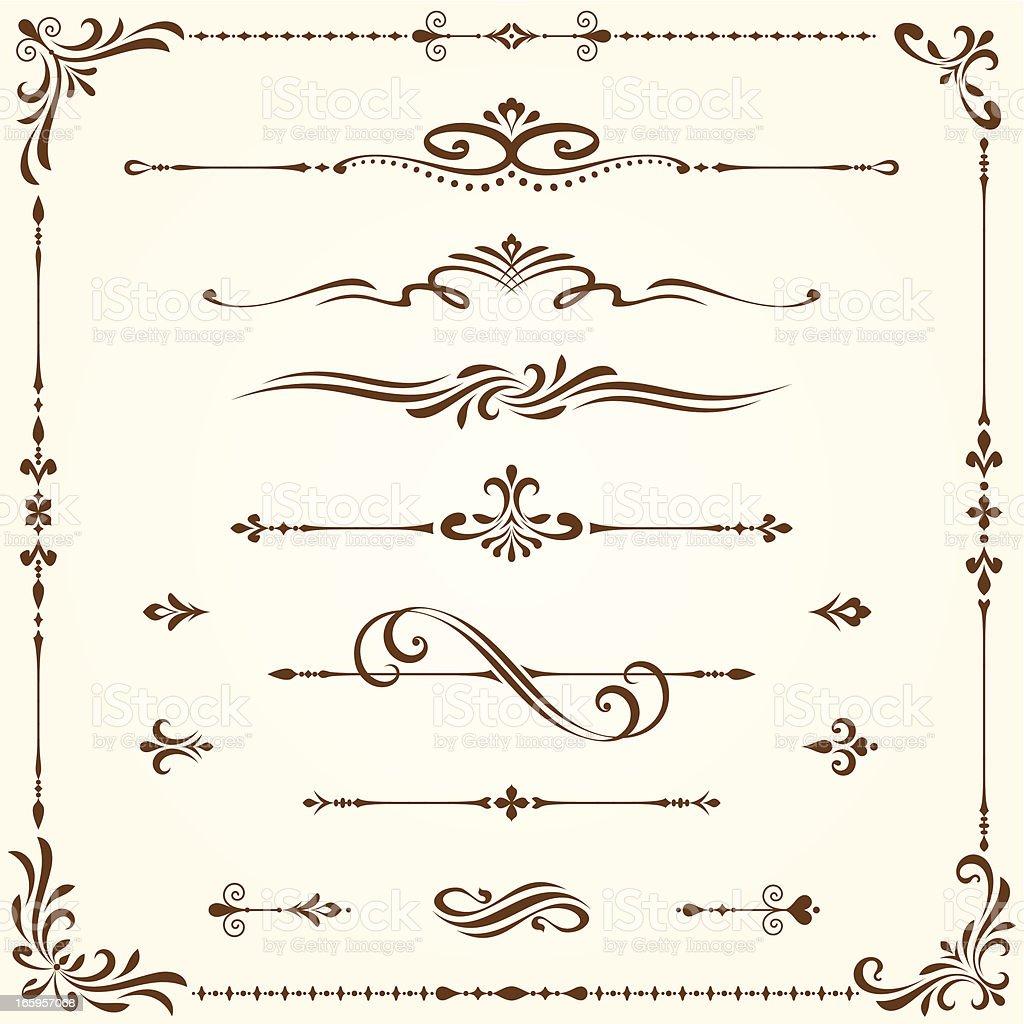 Ornate Elements Set vector art illustration