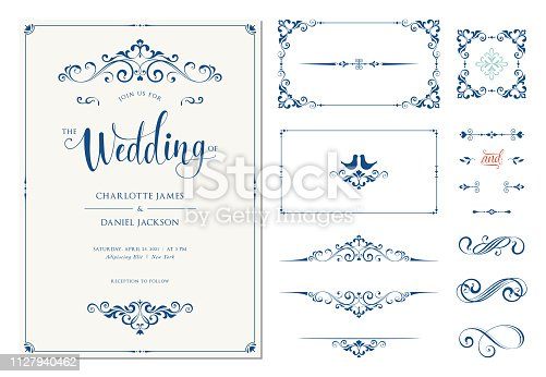 Ornate wedding invitation. Calligraphic vintage elements, dividers and page decorations. Vector illustration.