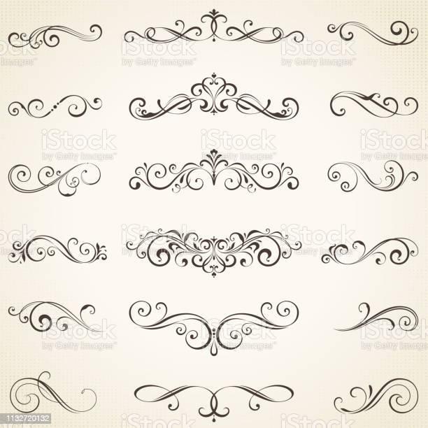 Ornate Elements Set05 - Arte vetorial de stock e mais imagens de Caligrafia