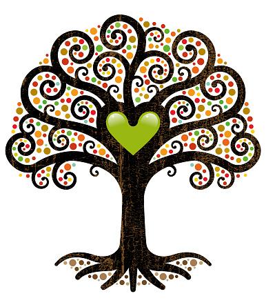 Ornate fall tree illustration