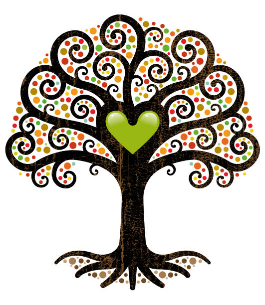 Ornate fall tree illustration vector art illustration