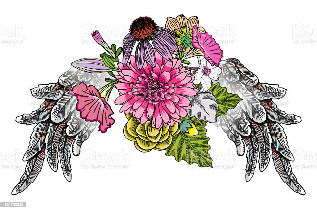華やかな昔ながらの翼とエレガントなビンテージ花の花束モチーフのビクトリア朝様式のアートワークを分離しました。ローズとフラッシュ天使や鳥の羽と花の入れ墨のデザイン要素。女の子のスタイルを描画します。ベクトル。 ベクターアートイラスト