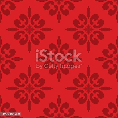 Vector illustration of ornate festive themed red wallpaper in a repeating pattern.