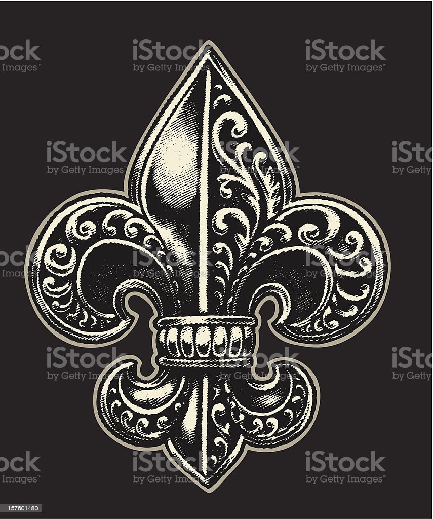 Ornate Fleur de Lis vector art illustration