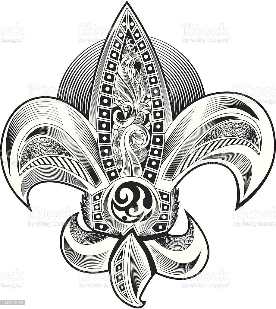 Ornate Fleur de Lis royalty-free stock vector art