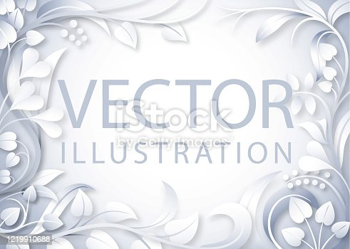 Floral background in shades of silver gray with central copy space.