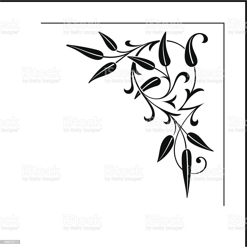 Ornate Floral Corner Design vector art illustration